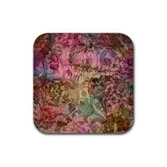 Texture Background Spring Colorful Rubber Coaster (square)