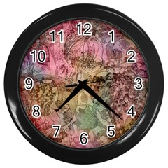 Texture Background Spring Colorful Wall Clocks (black)