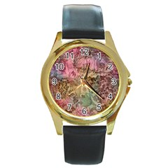 Texture Background Spring Colorful Round Gold Metal Watch