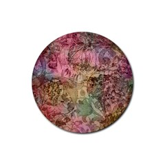 Texture Background Spring Colorful Rubber Coaster (round)