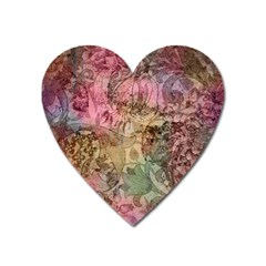 Texture Background Spring Colorful Heart Magnet