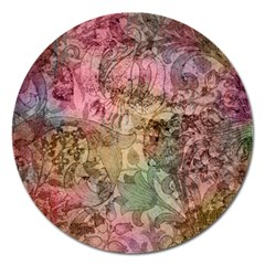 Texture Background Spring Colorful Magnet 5  (round)