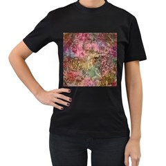 Texture Background Spring Colorful Women s T-Shirt (Black) (Two Sided)