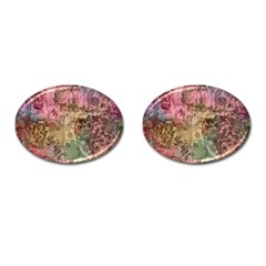 Texture Background Spring Colorful Cufflinks (oval)