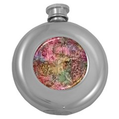 Texture Background Spring Colorful Round Hip Flask (5 oz)