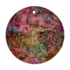 Texture Background Spring Colorful Round Ornament (two Sides)