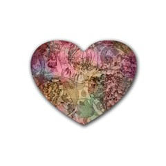 Texture Background Spring Colorful Rubber Coaster (Heart)