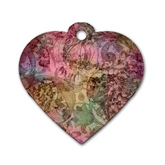 Texture Background Spring Colorful Dog Tag Heart (two Sides)