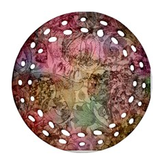 Texture Background Spring Colorful Round Filigree Ornament (2side)