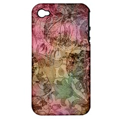 Texture Background Spring Colorful Apple Iphone 4/4s Hardshell Case (pc+silicone)