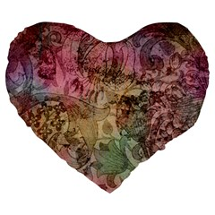 Texture Background Spring Colorful Large 19  Premium Heart Shape Cushions