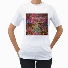 Texture Background Spring Colorful Women s T Shirt (white)