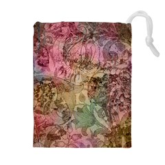 Texture Background Spring Colorful Drawstring Pouches (Extra Large)
