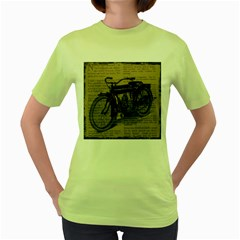 Vintage Collage Motorcycle Indian Women s Green T Shirt