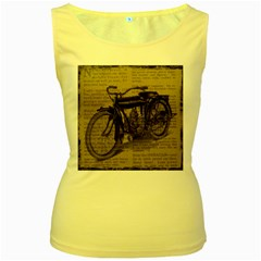 Vintage Collage Motorcycle Indian Women s Yellow Tank Top