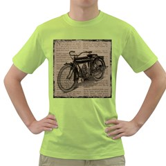 Vintage Collage Motorcycle Indian Green T Shirt
