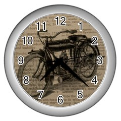 Vintage Collage Motorcycle Indian Wall Clocks (silver)