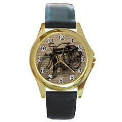 Vintage Collage Motorcycle Indian Round Gold Metal Watch