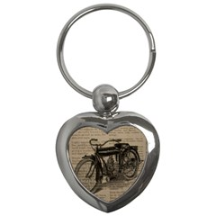 Vintage Collage Motorcycle Indian Key Chains (heart)
