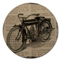 Vintage Collage Motorcycle Indian Magnet 5  (round)