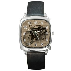 Vintage Collage Motorcycle Indian Square Metal Watch