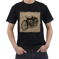 Vintage Collage Motorcycle Indian Men s T Shirt (black) (two Sided)