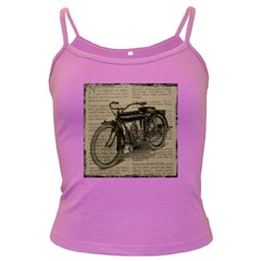 Vintage Collage Motorcycle Indian Dark Spaghetti Tank