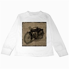 Vintage Collage Motorcycle Indian Kids Long Sleeve T Shirts