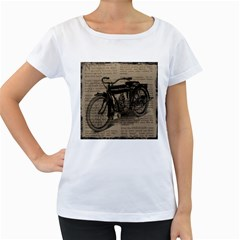 Vintage Collage Motorcycle Indian Women s Loose Fit T Shirt (white)