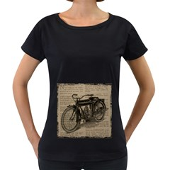Vintage Collage Motorcycle Indian Women s Loose Fit T Shirt (black)