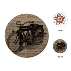 Vintage Collage Motorcycle Indian Playing Cards (round)