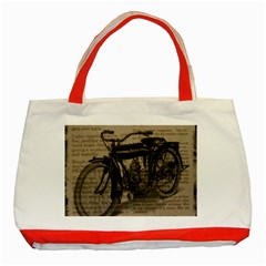 Vintage Collage Motorcycle Indian Classic Tote Bag (red)