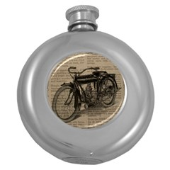 Vintage Collage Motorcycle Indian Round Hip Flask (5 Oz)