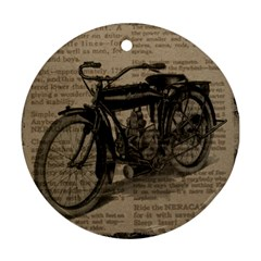Vintage Collage Motorcycle Indian Round Ornament (two Sides)