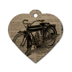 Vintage Collage Motorcycle Indian Dog Tag Heart (one Side)