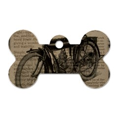 Vintage Collage Motorcycle Indian Dog Tag Bone (Two Sides)