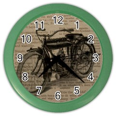 Vintage Collage Motorcycle Indian Color Wall Clocks