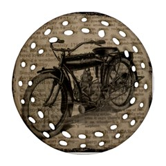 Vintage Collage Motorcycle Indian Round Filigree Ornament (2side)
