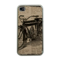 Vintage Collage Motorcycle Indian Apple Iphone 4 Case (clear)