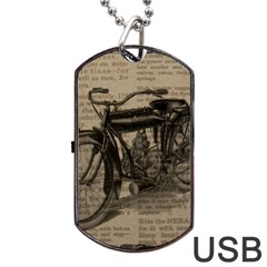 Vintage Collage Motorcycle Indian Dog Tag Usb Flash (two Sides)