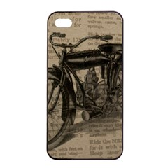 Vintage Collage Motorcycle Indian Apple iPhone 4/4s Seamless Case (Black)