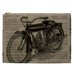 Vintage Collage Motorcycle Indian Cosmetic Bag (xxl)