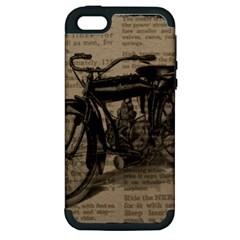 Vintage Collage Motorcycle Indian Apple Iphone 5 Hardshell Case (pc+silicone)
