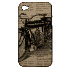Vintage Collage Motorcycle Indian Apple Iphone 4/4s Hardshell Case (pc+silicone)