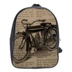 Vintage Collage Motorcycle Indian School Bags (xl)