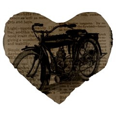 Vintage Collage Motorcycle Indian Large 19  Premium Heart Shape Cushions
