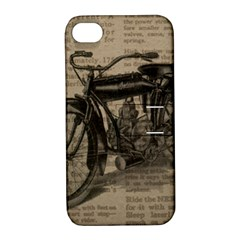 Vintage Collage Motorcycle Indian Apple Iphone 4/4s Hardshell Case With Stand