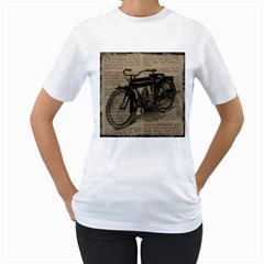 Vintage Collage Motorcycle Indian Women s T Shirt (white)