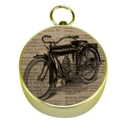 Vintage Collage Motorcycle Indian Gold Compasses