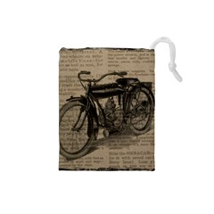 Vintage Collage Motorcycle Indian Drawstring Pouches (small)